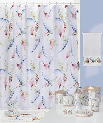 Idyllic Feathers and Leaves Bathroom Collection