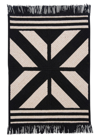 Sedona Rectangle Braided Wool Blend Rug, ED29 Black