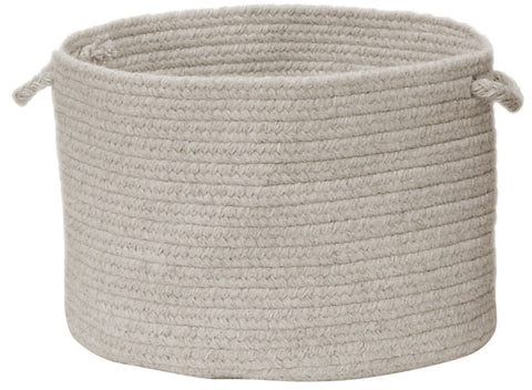 Shear Natural Round Braided Wool Basket, EN31 Cobblestone