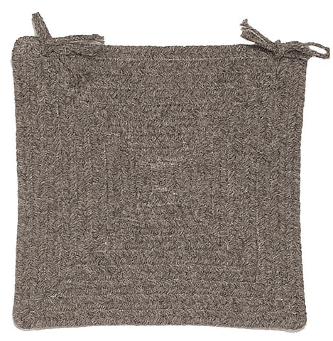Shear Natural Square Braided Wool Chair Pad, EN32 Rockport Gray