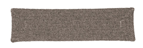 Shear Natural Rectangle Braided Wool Stair Tread, EN32 Rockport Gray