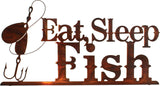 Eat, Sleep and Fish Metal Wall Art