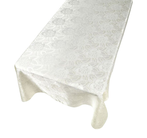 Ivory Floral Rose Damask Pattern Rectangle Fabric Tablecloth in 3 Sizes