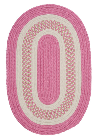 Flowers Bay Indoor Outdoor Oval Braided Rug, FB21 Pink