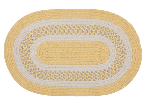 Flowers Bay Indoor Outdoor Oval Braided Rug, FB31 Yellow