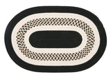 Flowers Bay Indoor Outdoor Oval Braided Rug, FB41 Black