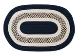 Flowers Bay Indoor Outdoor Oval Braided Rug, FB52 Navy Blue