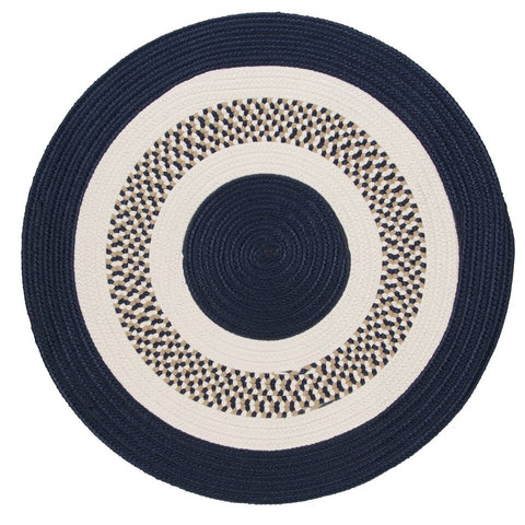 Flowers Bay Indoor Outdoor Round Braided Rug, FB52 Navy Blue