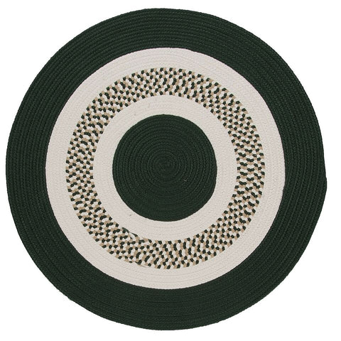 Flowers Bay Indoor Outdoor Round Braided Rug, FB62 Dark Green
