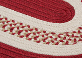 Flowers Bay Indoor Outdoor Oval Braided Rug, FB71 Red