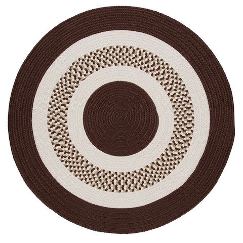 Flowers Bay Indoor Outdoor Round Braided Rug, FB81 Brown