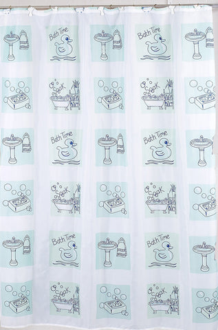 Bath Time Fabric Shower Curtain