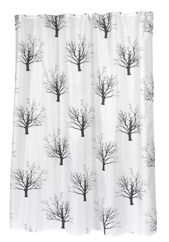 Bare Branches Black Trees Extra Long 70x84 Fabric Shower Curtain