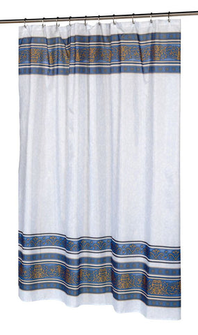 French Country Fleur Fabric Shower Curtain in Slate Blue