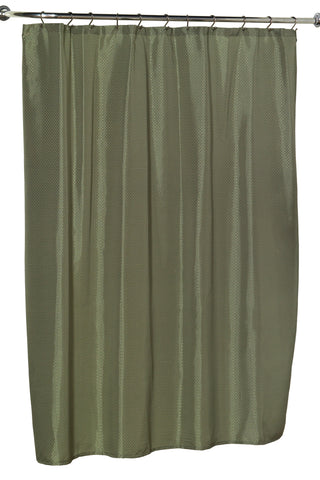 Diamond Dobby Fabric Shower Curtain in Sage Green