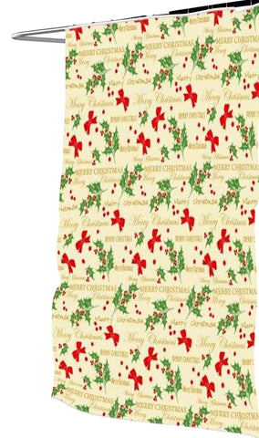 Merry Christmas Fabric Shower Curtain