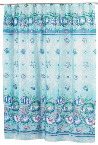 Fish and Sea Shells Oceanic Blue Fabric Shower Curtain
