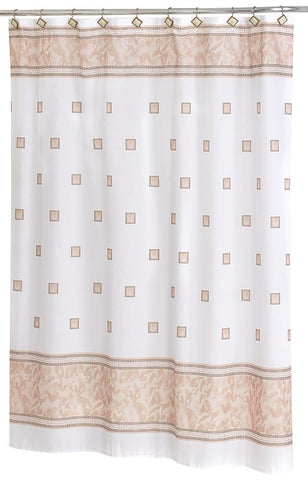 Faux Marble and Tile Pattern Fabric Shower Curtain in Beige