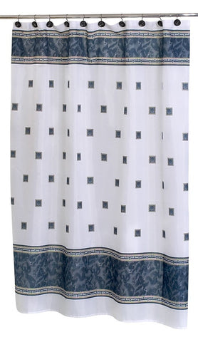 Faux Marble and Tile Pattern Fabric Shower Curtain in Black