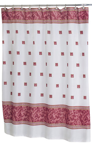 Faux Marble and Tile Pattern Fabric Shower Curtain in Burgundy