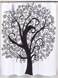 Modernized Tree of Life Fabric Shower Curtain
