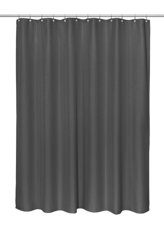 "Grace 70""x72"" Heavy Weight Jacquard Polyester Shower Curtain in Black"