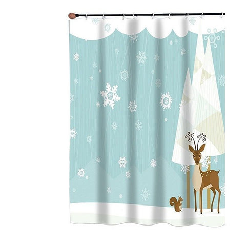Reindeer and Forest Friends Fabric Shower Curtain