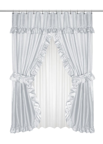 Ruffled Double Swag Shower Curtain with Valance & Tie-Backs in Grey