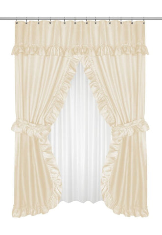 Ruffled Double Swag Shower Curtain With Valance Tie Backs In Ivory TntCommodities