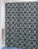 French Acanthus Fabric Shower Curtain in Spa Blue and Brown