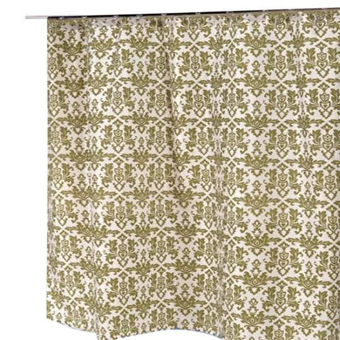 French Acanthus Fabric Shower Curtain in Sage and Ivory