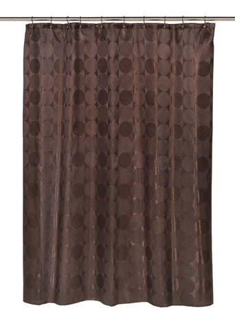 Textured Circular Pattern Fabric Shower Curtain with Metal Grommets in Brown