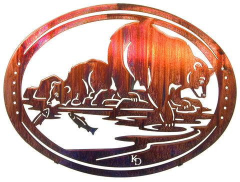 Bear Family Fishing Oval Frame-style  Metal Wall Art