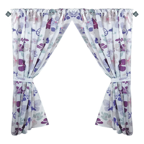 Violets Flower Blooms Fabric Window Curtain with Tie-Backs