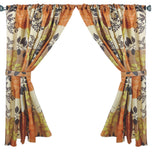 Leaf Collage Fabric Window Curtain with Tie-Backs