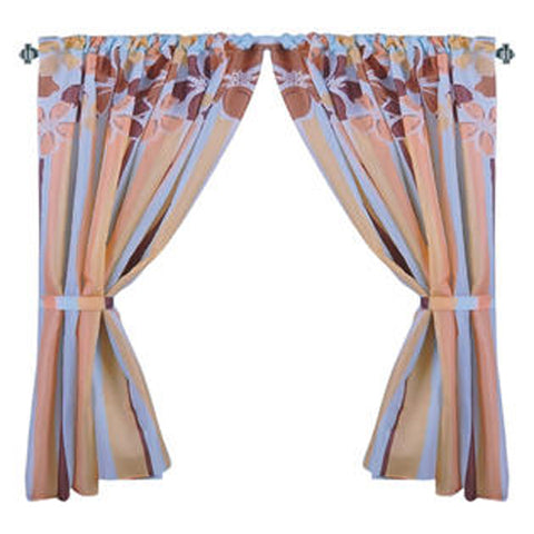 Floral Topper with Stripes Fabric Window Curtain with Tie-Backs
