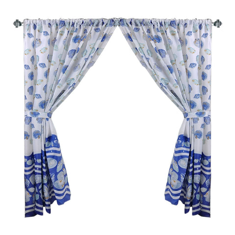 Blue Sea Shells Galore Fabric Window Curtain with Tie-Backs