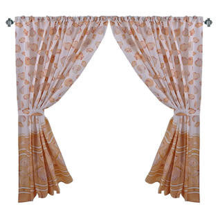 Warm Sea Shells Galore Fabric Window Curtain with Tie-Backs