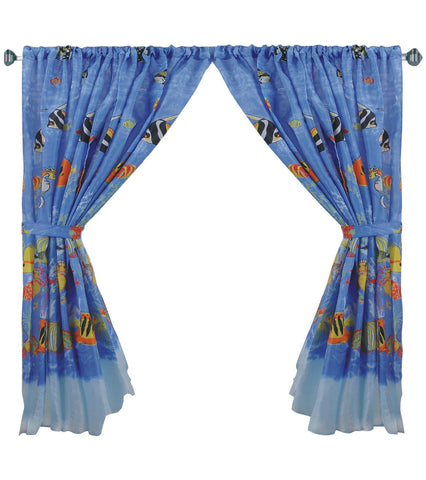 Tropical Fish Fabric Window Curtain with Tie-Backs