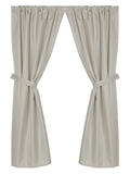 Grace Jacquard Fabric Window Curtain with Tie-Backs in Silver