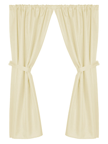 Grace Jacquard Fabric Window Curtain with Tie-Backs in Ivory