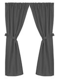 Grace Jacquard Fabric Window Curtain with Tie-Backs in Black