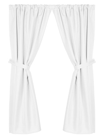 Grace Jacquard Fabric Window Curtain with Tie-Backs in White