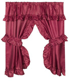 Ruffled Window Curtain with Valance, Burgundy