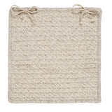 100% All Natural Wool Houndstooth Square Chair Pad, HD31 Cream
