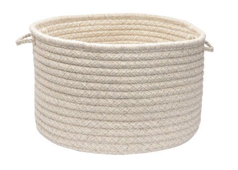 100% All Natural Wool Houndstooth Round Storage Basket in 3 sizes, HD31 Cream