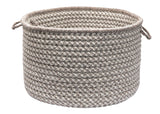 100% All Natural Wool Houndstooth Round Storage Basket in 3 sizes, HD32 Latte