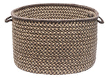 100% All Natural Wool Houndstooth Round Storage Basket in 3 sizes, HD34 Caramel