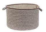 100% All Natural Wool Houndstooth Round Storage Basket in 3 sizes, HD36 Espresso