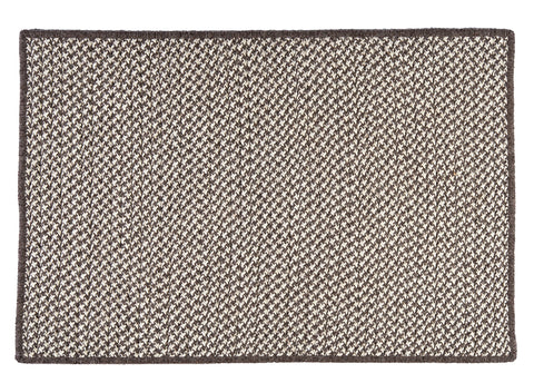 100% All Natural Wool Houndstooth Rectangle Rug, HD36 Espresso